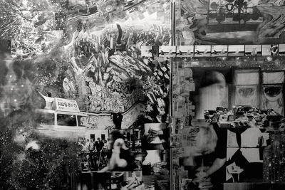 New York in the mirror of the Hubble telescope Dmitry Plavinsky (1937–2012)  Collage and mixed media on canvas 500 х 100 cm 2002  Courtesy Vellum Gallery