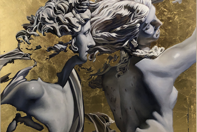 Amore Eterno Natalia Gudovich  (b. 1994)  Холст, масло, поталь 135 х 135 см 2020 год  Courtesy Omelchenko Gallery