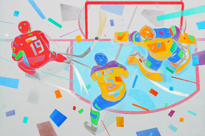 Kirill Kipyatkov (b. 1987) Hockey. 2016 Oil on canvas 90 x 120 cm © LUCH Gallery
