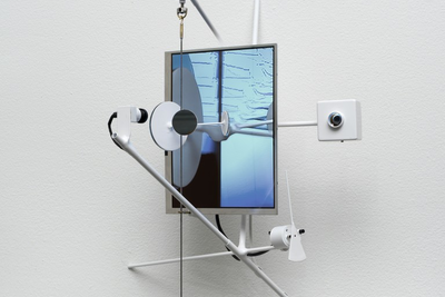 Björn Schülke (b. 1967) Vision Machine #8, 2016 Brass, steel, wood, mirrors, paint, camera, display, sensor, electronics 40 × 30 × 36 cm Edition 1 of 3 Courtesy of bitforms gallery, New York