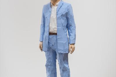 Stephan Balkenhol (b. 1957) Man with Light Blue Shirt, 2019 Painted wawa wood 173 x 36 x 27 cm © Stephan Balkenhol/ Galerie Forsblom