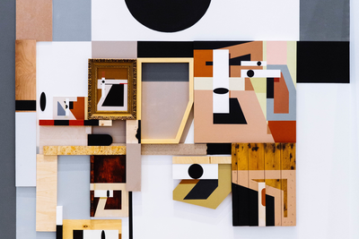 Alexey Luchko (Luka) Border Line, 2016. Acrylic on wood and plywood, 95 x 95 x 300 cm.