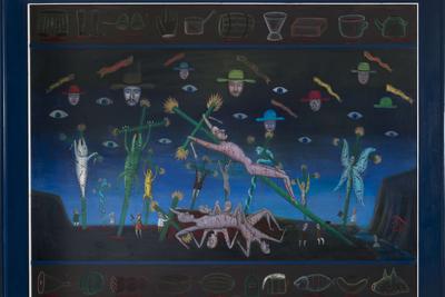 «Распятие художника (3 части)» Леонид Пурыгин (1951–1995)  Холст, масло 191,5 x 244,5 см (226,5 x 279,5 см) 1990 год  Courtesy АРТ4