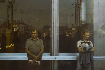 Semyon Fabisovich (b. 1949) Waiting. 1989 Oil on canvas 197 x 297 cm Сourtesy VLADEY