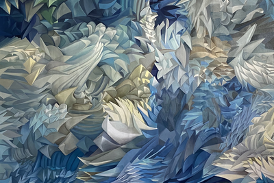 Transcoded structures Olga Tobreluts  (b. 1970)  Oil on canvas 200 x 210 cm 2020  Courtesy VP Studio and the artist