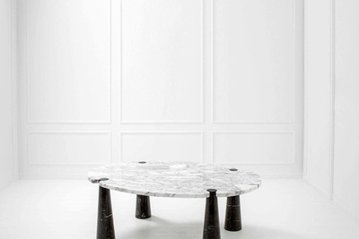 Large table from the Eros series Angelo Mangiarotti (1921–2012)  White Arabescato marble, black Spanish marble Nero Marquina 72 x 200 x 140 cm 1970  Courtesy Heritage Gallery