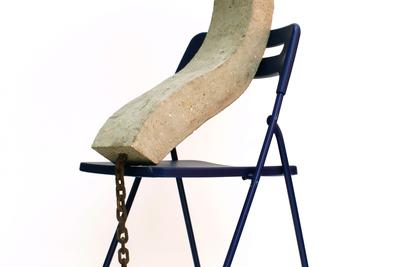 Ekaterina Luzgina (b. 1994) ?, 2019 Concrete, steel reinforcement, iron chain 60 x 15 x 110 cm © Ekaterina Luzgina