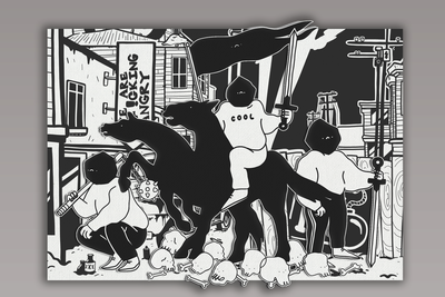Maksim Trulov (b. 1991)  and  Ksusha Lastochka (b. 1991) Vviva la revolution, 2018 Subframe, canvas, acrylic 2 х 3 m Courtesy of FUTURO