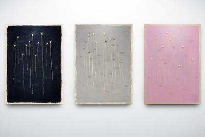 Ilya Fedotov-Fedorov (b. 1988) Separeted mycelium's particles, 2018 Wood, acryl, stones 55 x 39 cm (each work) © Fragment Gallery